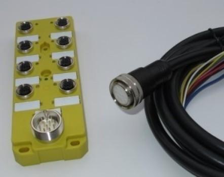 产品描述: 8口分配器-M12-PNP带M23插座11针公座 带线2米  插头描述:M23插头11孔母头,不带电缆  产品型号: KYF8K-M12-K4-PNP-M23J11  插头型号:KYF23K11-NC